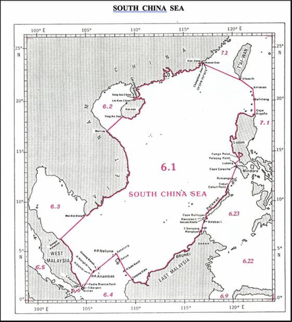 The South China Sea, according to the the International Hydrographic Organization's Limits of Oceans and Seas