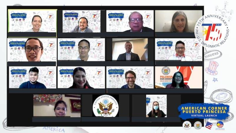 The United States Embassy in the Philippines and Palawan State University launch American Corner Puerto Princesa virtually. CONTRIBUTED PHOTO