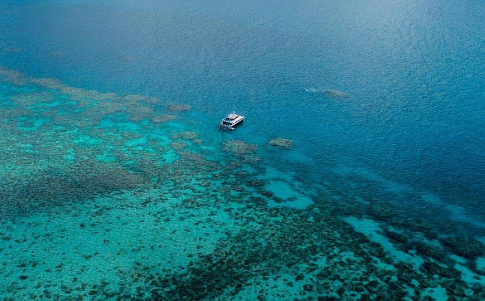 Aerial photo taken on June 2, 2021 shows the Great Barrier Reef in Queensland, Australia. The Great Barrier Reef, the world's largest coral reef in Australia's state of Queensland, is described as the
