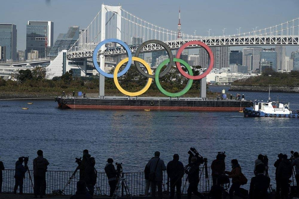 The Olympic rings on Tokyo Bay. FILE PHOTO