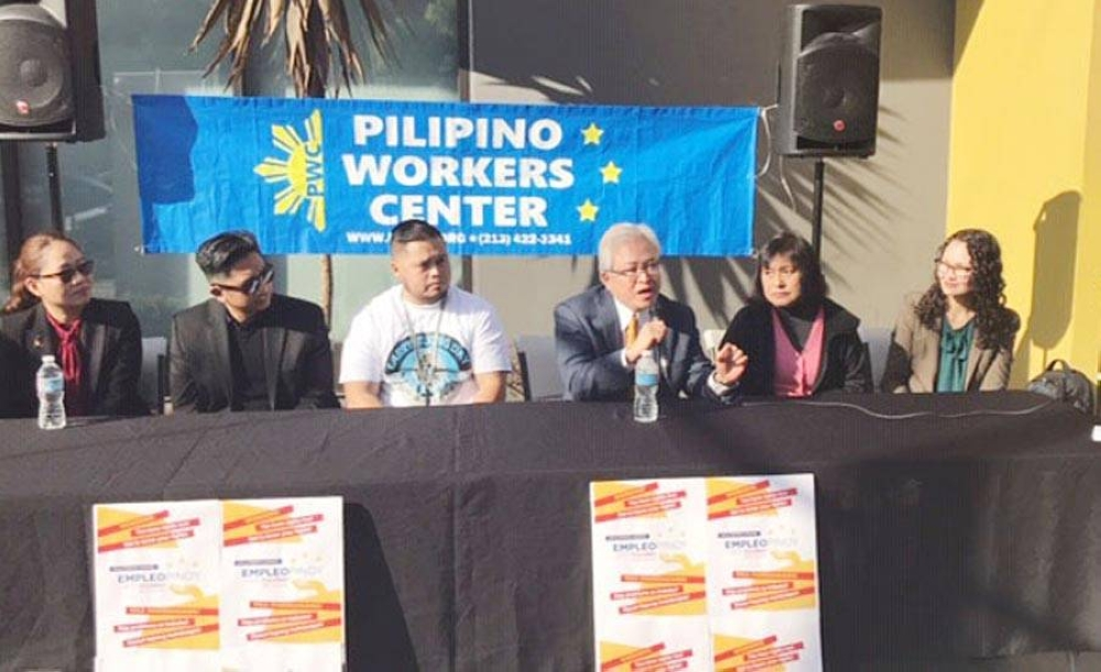 Sayas in the middle of the speakers' panel before the Pilipino Workers Center on the issue of workers' rights, anti-human trafficking and workers' education programs, including civil rights and COVID-19 issues