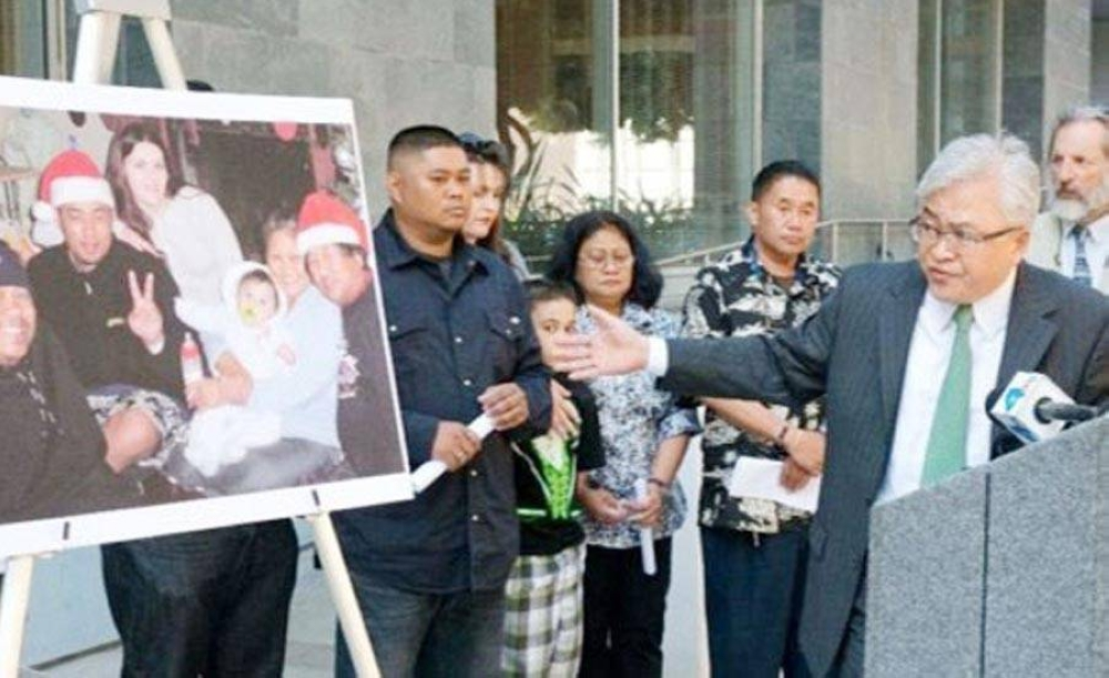 Sayas leading a press conference in front of the Long Beach Police headquarters in the fight for justice for the late Mharloun Saycon, the 39-year old Filipino-American who was shot and killed by a Long Beach police officer