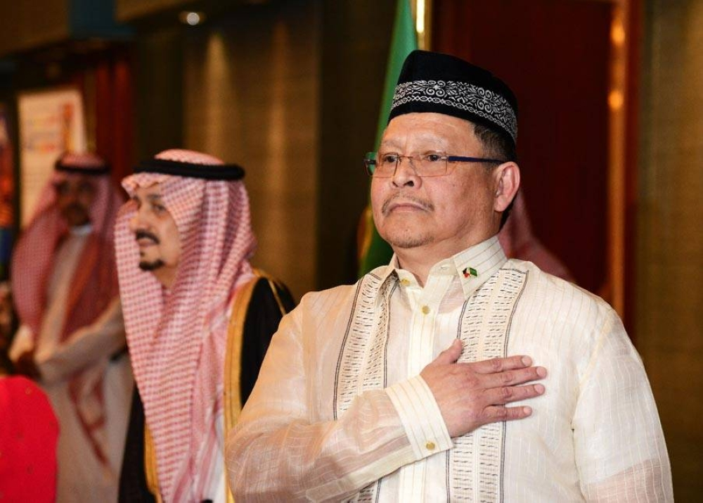 Singing the Philippine National Anthem at a diplomatic event in Saudi Arabia