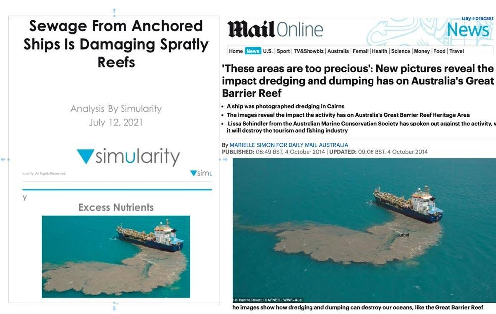Simularity fake news: not in Spratlys but in Great Barrier Reef; not poop but dredge; and not Chinese but Australian
