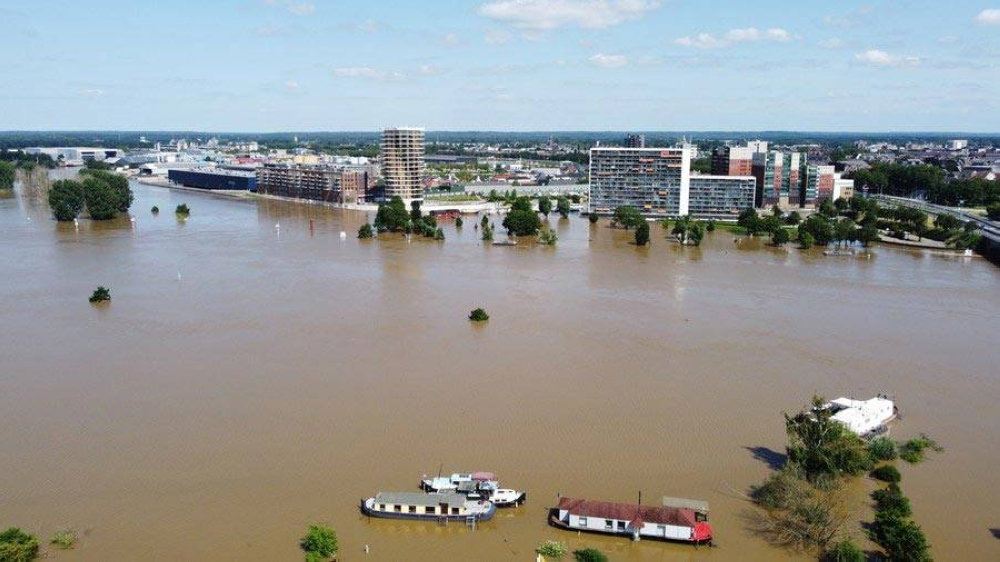 Aerial photo taken on July 17, 2021 shows a flooded area in Roermond, Limburg, a province in the southeastern part of the Netherlands. Jelle Aerts/Lofi-original/Handout via Xinhua