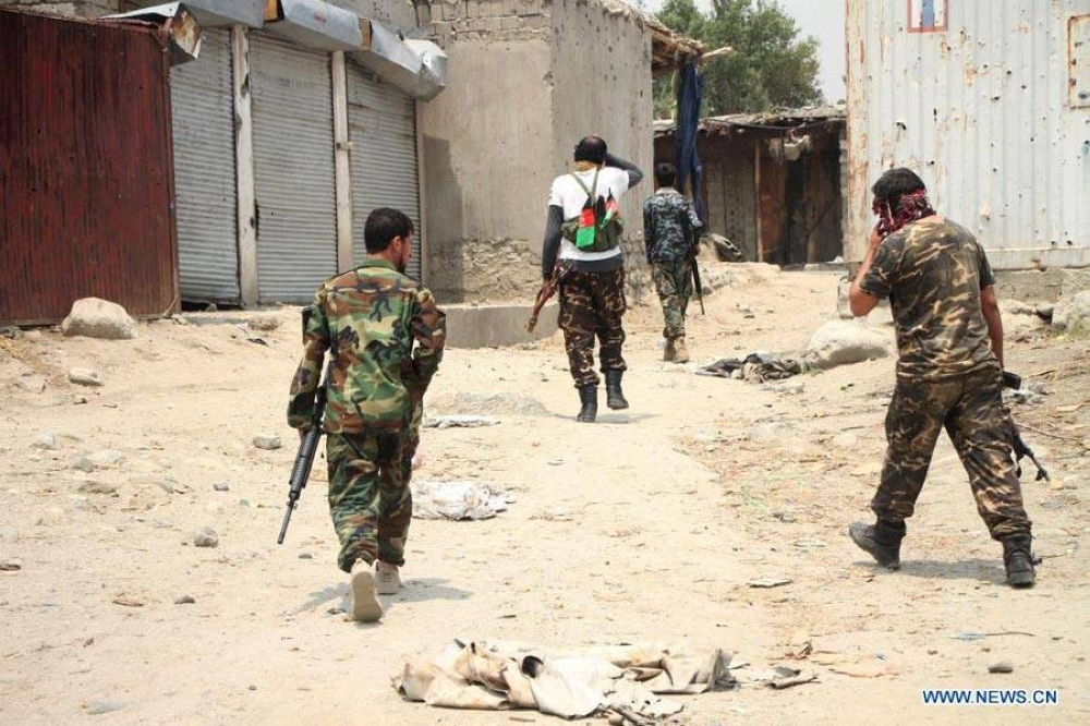 Afghan security force members take part in a military operation against Taliban militants in Alishing district of Laghman province, eastern Afghanistan, on July 12, 2021. Taliban militants have been intensifying activities to capture more districts, as the U.S. troops are completing the pull-out from Afghanistan. In the meantime, Afghan security forces have been conducting counter-offensives to foil the militant group's efforts. XINHUA PHOTO