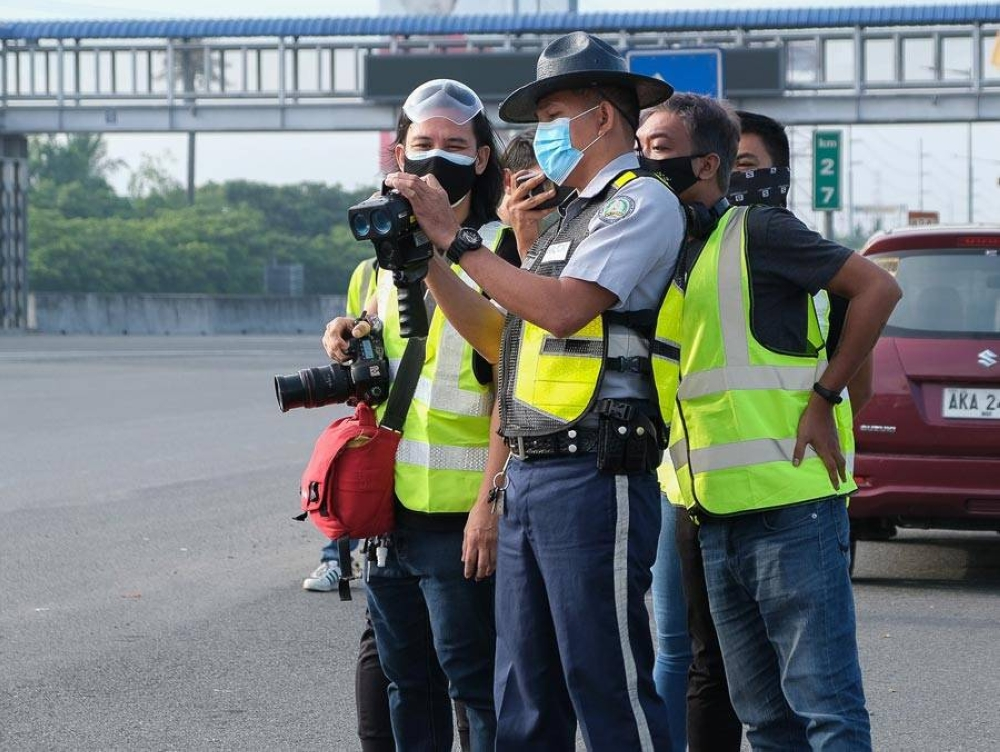 The NLEX Patrol Crew gives media participants an on-ground experience at the NLEX Bocaue Barrier.