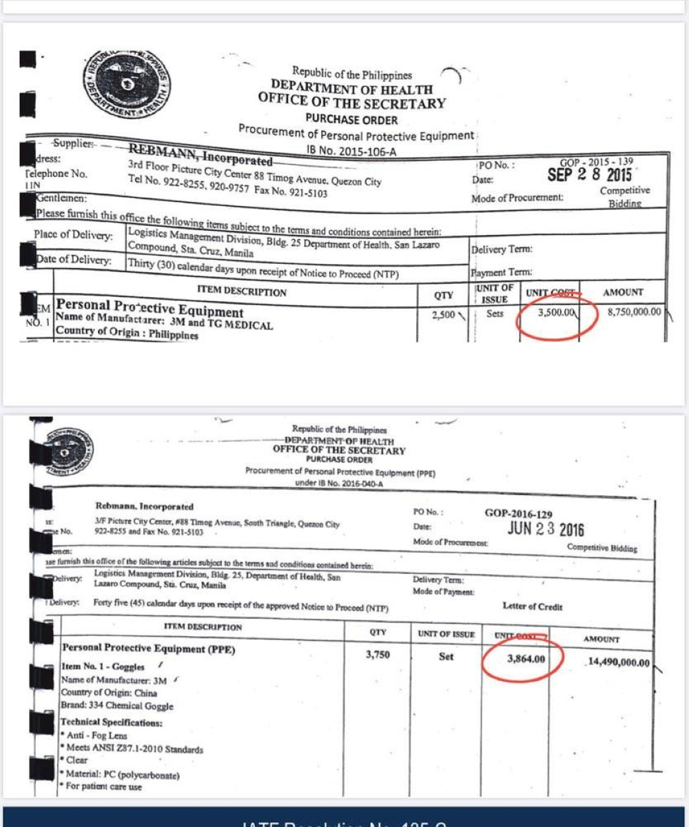 Purchase order during Aquino 3rd term: P3,500 to P3,864 per piece