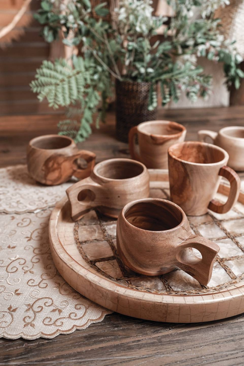 Enjoy your next cup of coffee or tea with these acacia mugs. Each one is expertly carved by skilled woodworkers from Pampanga, making them even more special.