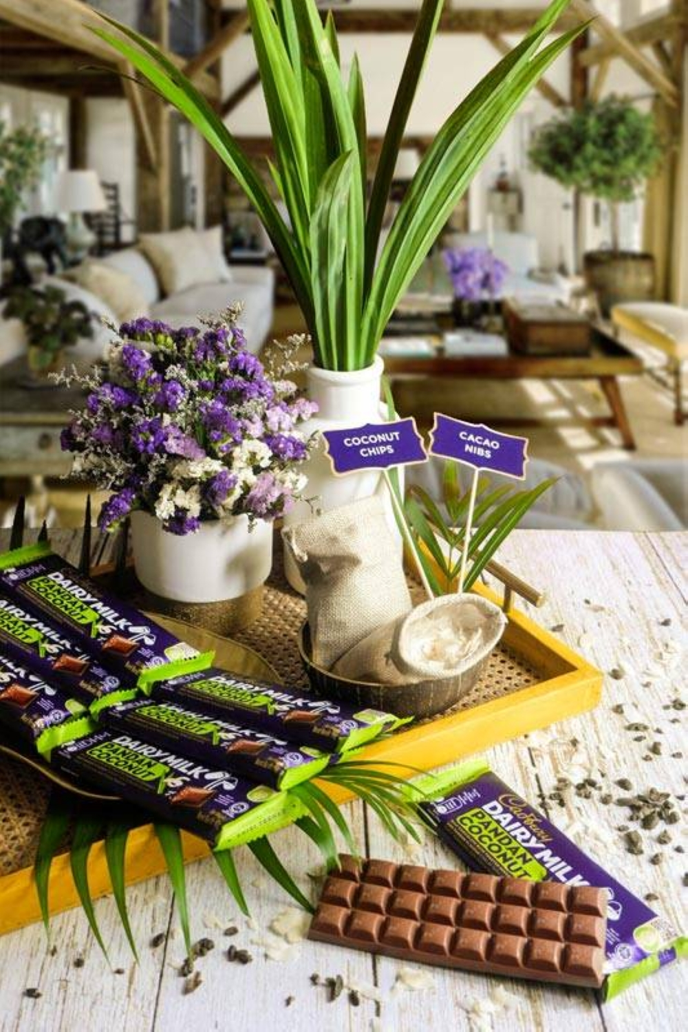 Imagine combining yummy local coconut, sweet pandan, and creamy British chocolate in a delectable candy bar.