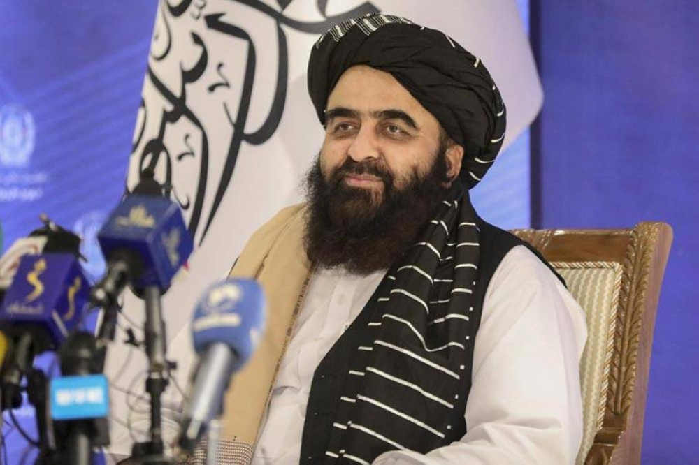 The foreign minister in Afghanistan's new Taliban-run Cabinet, Amir Khan Muttaqi, gives a press conference in Kabul, Afghanistan, Tuesday, Sept. 14, 2021. Muttaqi said Tuesday that the government remains committed to its promises not to allow militants to use its territory to attack others. AP PHOTO