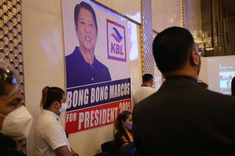 Ang pangkalahatang pananaw ng paglilitis sa pambansang kombensiyon ng Kilusang Bagong Lipunan (KBL) Party sa Binangonan, Rizal noong Setyembre 24, 2021. Ang partido at ang mga kasalukuyang kasapi nito sa kaganapan ay nagpahayag ng suporta para sa pagkapangulo ni dating Senador Ferdinand