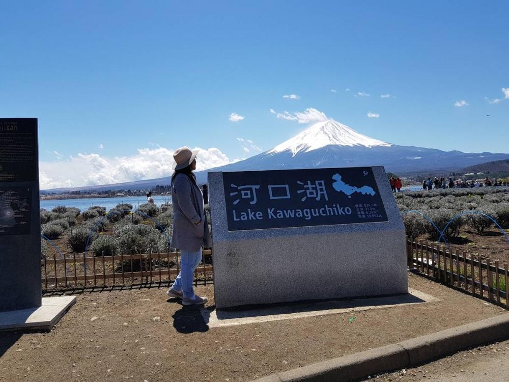Filipino tourist views Mt. Fuji from Lake Kawaguchiko