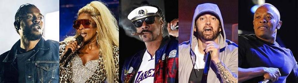 Kendrick Lamar, Mary J. Blige, Snoop Dogg, Eminem at Dr. Dre AP PHOTO