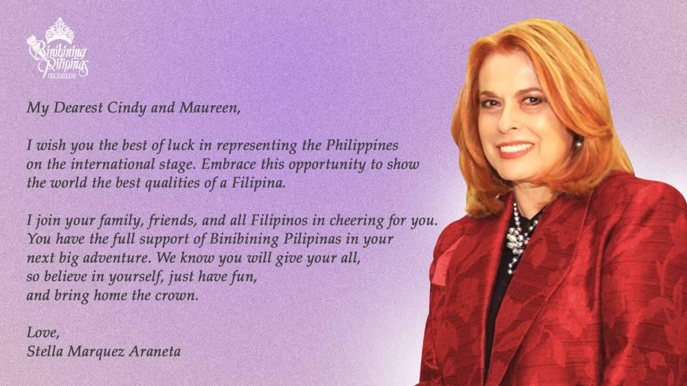 رسالة من Binibining Pilipinas Charities، Inc. الرئيسة ستيلا ماركيز أرانيتا إلى الملكتين.