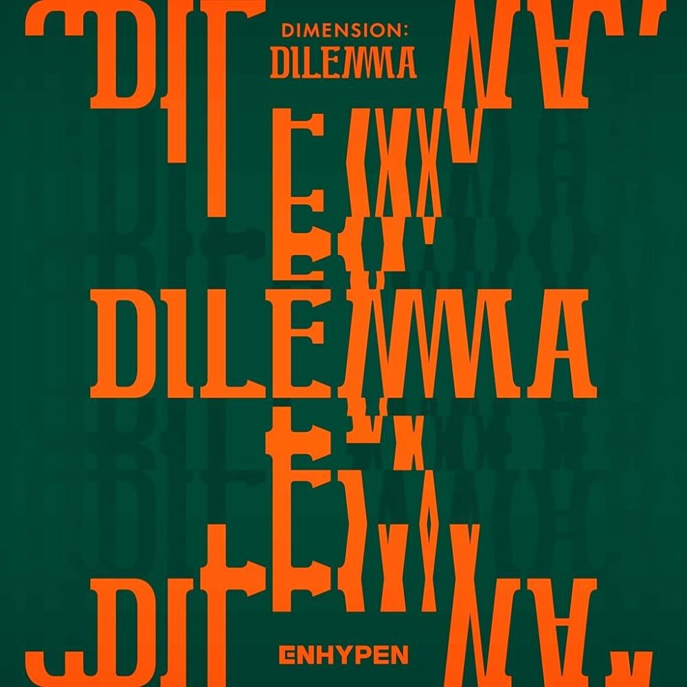 The cover of 'Dimension: Dilemma' by ENHYPEN.  AP PHOTO