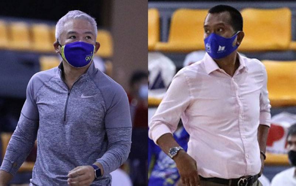 (Left) TNT coach Chot Reyes and Magnolia coach Chito Victolero PBA PHOTOS