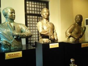 detailed busts of Filipino heroes emilio Jacinto, andres Bonifacio and Gregoria de Jesus at the Museo ng Katipunan