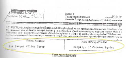 A facsimile of Sawyer Miller's registration under the US Foreign Agents Registration Act.
