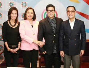 Aga Muhlach with ABS-CBN Executives (from left) Cat Lopez, Cory Vidanes and Carlo Katigbak