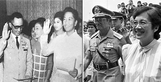 """Man for all seasons? Left, photo from Presidential Museum with caption: """"In January 1972 at the height of the First Quarter Storm of the angry Filipino youth, Brigadier General Ramos was appointed Chief of the Philippine Constabulary -- his first, last and only assignment with the PC, having spent his first 20 years in the Army."""" Right, with his second boss, February 1986."""